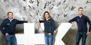 Ronan Lucas avec Clarisse Crémer et Armel Le Cléac'h, skippers Banque Populaire