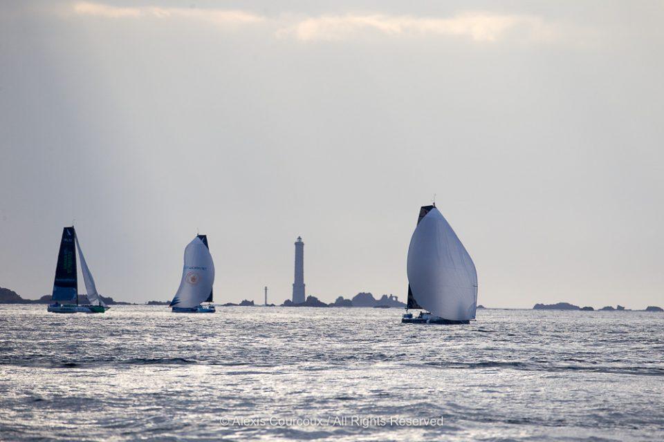 Les Figaros au passage de Brehat lors de la 3eme etape de la Solitaire Urgo Le Figaro 2019 - en mer le 16/06/2019