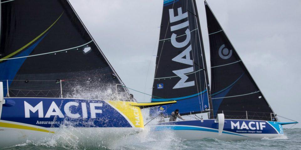 Martin Le Pape et Pierre Quiroga, skippers des Figaros Beneteau 3 Macif - Saison 2019 - 1ere navigation a Port La Foret le 07/02/2019