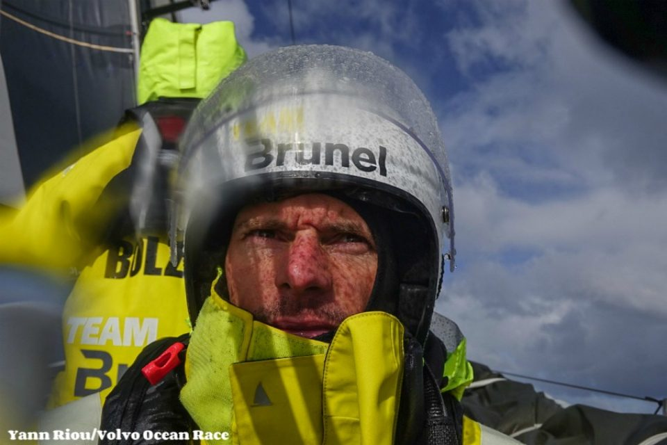 Leg 7 from Auckland to Itajai, day 08 on board Brunel.  Thomas Rouxel after 2 hours of driving. 25 March, 2018.